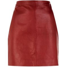 Sandro Leather Skirt ($415) ❤ liked on Polyvore featuring skirts, mini skirts, real leather skirt, red a line skirt, short a line skirt, real leather mini skirt and short leather skirt