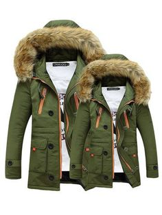 Trendy Long Sleeve Thicken Hooded Pockets Winter Cotton Warm Coat Online - NewChic Mobile