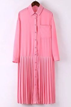 Preppy Style Shirt Collar Solid Color Long Sleeve Pleated Dress For Women Power Dressing, Sammy Dress, Preppy Style, Chiffon Dress, Shirt Style, Shirt Dress, Long Sleeve, Powder Pink, Color