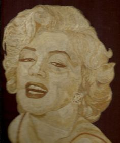 Marilyn Manroe  Hollywood legend handmade with dried by museumshop, $249.00    Hollywood star Handmade leaf art  by museumshop, No color paint or dye added to the natural color of rice straw (Dried leaves of rice plant).  This portrait is not a photo, painting, print but handmade with thousands of tiny pieces of rice straw.  COLLECTIBLE LEAF ART.  Handmade leaf art.
