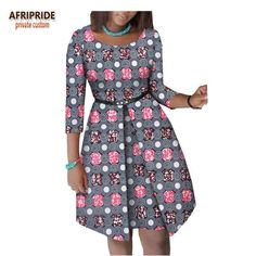 2019 verão vestido africano para as mulheres AFRIPRIDE luva dos três quartos do joelho-comprimento vestido de algodão mulheres com faixas botão A1825063