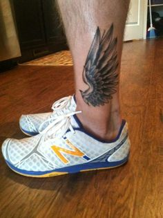 Hermes Wings leg tattoo, but on ankle/ foot