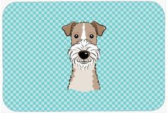 Checkerboard Blue Wire Haired Fox Terrier Mouse Pad, Hot Pad or Trivet BB1185MP