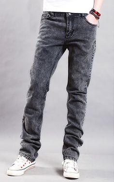 Korean Style Slim Male Straight Jean Leisure Pants Dark Grey XS/S/M/L/XL/XXL @S8K0317-1dg