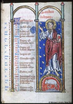 Psalter-hours (MS M.94). Cologne, Germany, between 1250 and 1274.  MS M.94  fol. 2r; Apostle Andrew