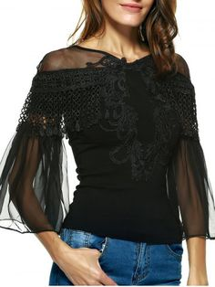 GET $50 NOW   Join RoseGal: Get YOUR $50 NOW!http://www.rosegal.com/blouses/graceful-women-s-bell-sleeves-embroidered-mesh-spliced-blouse-633640.html?seid=6721510rg633640
