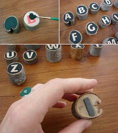 refridge DIY alphabet magnets using stickers as resist....maybe with something else other than mini logs...