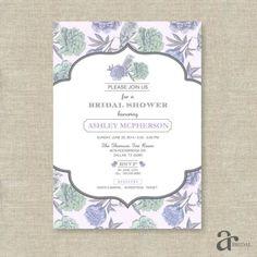 Vintage Shabby Chic Floral Bird Bridal Shower Printable Invitation - Ashley Collection - Purple