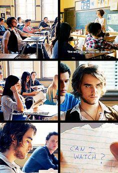 Hemlock Grove passing notes in class.
