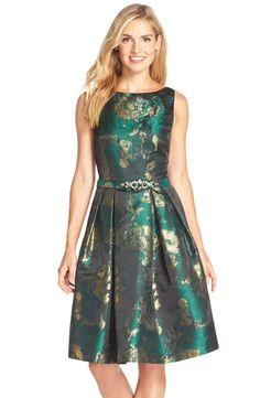 Eliza J Metallic Jacquard Fit & Flare Dress (Regular & Petite)