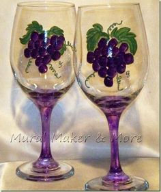 Details About Red White Wine Glass With Vine And Grapes