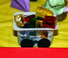 Snow White themed party: Jell-O mining car
