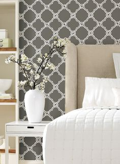 Open Trellis Ap7490 Vinyl Wallpaper White Pattern Black Bedrooms