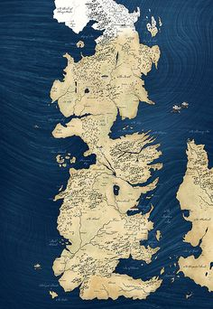 Game of Thrones Map Blue approx 28x40inch -Fabric Wall hanging