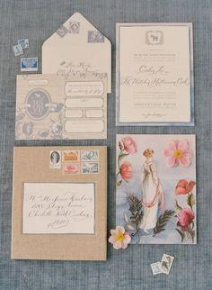 Vintage Floral Invitation | Elizabeth Messina Photography | Slate Blue and Dusty Rose Wedding Ideas
