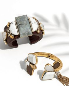 APR '15 Style Guide: J.Crew women's mixed stone wooden cuff and mixed stone tassel cuff bracelets.