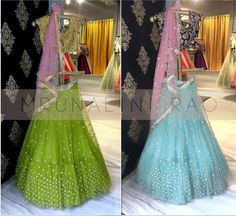 A refreshing collection for the brides to be. Beautiful powder blue and parrot green color lehenga of meenakshi collection from Mrunalini Rao . 25 October 2017