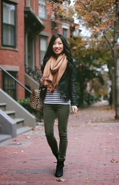 iMyne Fashion: Ann Taylor Appreciation | Extra Petite. How to wear hunter green. Mix and match outfit idea. Cool weather outfit ideas. Fall fashion inspiration. How to wear a black leather jacket. Tan scarf. Colors that work together for fall. Spring.