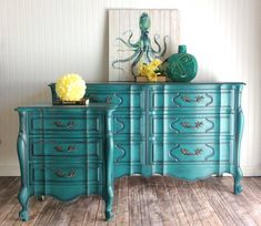 #etsy shop: SOLD**** Teal Dresser, Custom Finish Available, French Provincial, Vintage Dresser #furniture #frenchdresser #bedroomstorage #tealnightstand #shabbychic #chalkpainteddresse #tealdresser #frenchprovincial