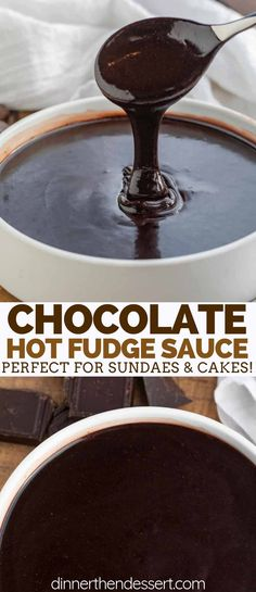 Easy Hot Fudge Sauce is sweet and indulgent made with cocoa powder butter sugar and heavy cream with vanilla and ready in only a few minutes Homemade Chocolate Sauce, Chocolate Sauce Recipes, Homemade Hot Fudge, Chocolate Fudge Sauce, Fudge Recipes, Chocolate Chocolate, Hot Fudge Recipe With Cocoa, Candy Recipes, Cocoa Powder Recipes