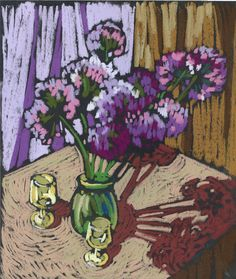 Pastel still life with onion flowers. Onion flowers in the bottle.