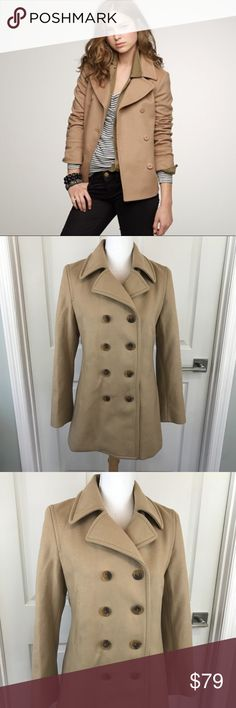 """J. Crew Wool Blend Camel Double Breasted Peacoat J. Crew Womens Wool Blend Peacoat  80% Wool, 20% Nylon   Size- Petite Medium  Length 29"""" Pit to pit 19""""  Great condition!! No holes, stains etc from a smoke and pet free home J. Crew Jackets & Coats Pea Coats"""