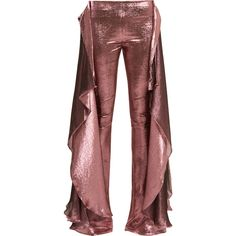 Paula Knorr Relief high-rise ruffled silk-blend lamé trousers (1'180 CHF) ❤ liked on Polyvore featuring pants, pink, high rise pants, slim leg pants, high-waist trousers, red pants and pink high waisted pants