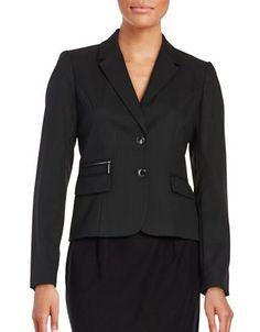 Calvin Klein Knit Pinstriped Blazer Women's Black 14