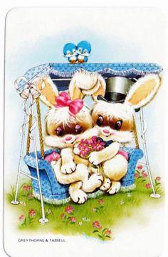 vintage SWAP CARDs 1970s Blank back rabbit Easter friends  blue birds in love