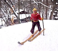 Barclay Red Skier in Red, yellow cap. Circa 1930s