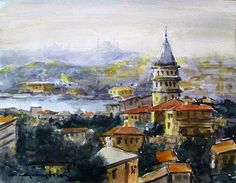 CELAL GÜNAYDIN Turkish Artist Painter Watercolor - suluboya
