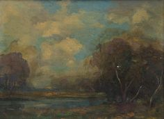 "Title unknown (river landscape), Arthur Hoeber, oil on board, 9 x 12"", private collection."