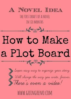A Novel Idea: How to Make a Plot Board--it's super simple, it will keep your story organized, and I even made a video! To read later Fiction Writing, Writing Advice, Writing Resources, Writing Help, Writing Skills, Writing A Book, Writing Services, Essay Writing, Story Starter