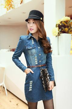 Puff Sleeves Waisted and Hole Design Jeans Women's Dress With Belt