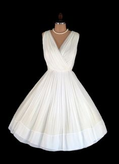 Vintage 1950's 50's Ivory Chiffon Draped Cocktail Party Prom Dress S/M