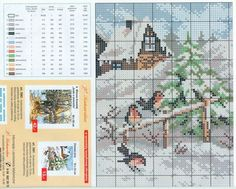 House with snow cross stitch chart