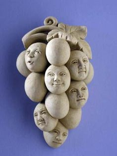 "Sour Grapes Wall Plaque Now really. WHO just ""has to have"" this disturbing piece of crap? Ceramic Clay, Ceramic Pottery, Sour Grapes, Biscuit, Clay Faces, Clay Figurine, Paperclay, Sculpture Clay, Wall Plaques"