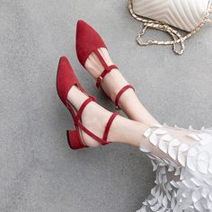 Chiko Lianna Pointed Toe Block Heels Pumps - vestidos plus - Best Shoes World Stilettos, Shoes Heels Pumps, Lace Up Heels, Stiletto Heels, Red Shoes, Red Pumps, Shoes Uk, Pointed Toe Block Heel, Block Heels