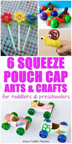 30 Squeeze Pouch Cap Activities - HAPPY TODDLER PLAYTIME Looking for fun ways to learn and play with squeeze pouch caps? Check out this amazing list of squeeze pouch cap activities for your toddler or preschooler!
