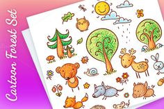 Set of cartoon forest animals and plants - no gradients, both coloured and black and white. Large jpeg, transparent png for easy layering and vector eps files are included. Vector files can
