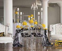 Yellow, black and White Wedding Style Decor