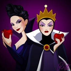 There have been many evil queens, but these are my favorites. The classic queen from Snow White, and @lparrilla as Regina from Once Upon A Time. #witch #halloween #disney #disneyvillain #theevilqueen...