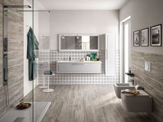 Love wood effect tiles in bathroom Wood Effect Tiles, Bathroom Faucets, Bathrooms, Modern Bathroom, Home And Living, Sweet Home, New Homes, Bathtub, Indoor