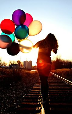 balloons, girl, photography, pictures, railroads