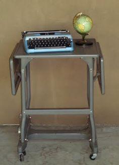 When Spike and I went to Sutter Creek in July, I found this metal vintage typewriter table for 5 bucks. Small Workspace, Light Blue Green, Vintage Typewriters, Velvet Curtains, Panel Bed, Vintage Velvet, Restoration Hardware, Drafting Desk, Cool Stuff