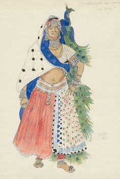 Léon Bakst (1866-1924). Le Dieu Bleu, Costume design for Baydere, 1911. Watercolor and pencil. Howard D. Rothschild Collection. pf MS Thr 414.4 (11). Bequest, 1989.