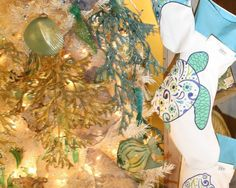 Applique and Embroidered coastal Christmas Stockings and Tree skirts!
