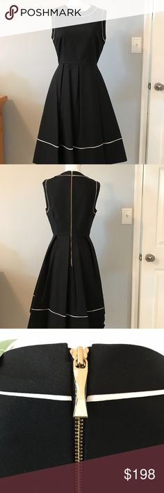 KATE SPADE HOPE DRESS *NEW* Soper chic LBD by Kate Spade.  Sleeveless with white detailing.  A never fail fit & flare from Kate!  55% cotton 41% nylon   4% spandex Kate Spade Dresses