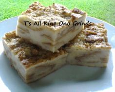 Homemade Coconut Bread Pudding Recipe by Tʻs All Kine Ono Grinds https://www.facebook.com/TsAllKineOnoGrinds2 1 ½ loaf French bread, cubed 2 cans coconut milk, an equal amount of 4 cups 1 ½ cup sugar 1 stick butter, melted 2 tsp. cinnamon 1 tsp. coconut extract 5 eggs, lightly beaten ½ cup coconut flakes, optional ½ cup golden raisins, optional  Pre-heat your oven for 350 degrees