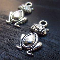 5PCs Kitty Cat Wholesale Silver Plated Charm Pendants - C0629